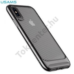 APPLE IPhone X 5,8`` USAMS SENIOR telefonvédő gumi / szilikon (műanyag keret, közepesen ütésálló, csíkos) FEKETE