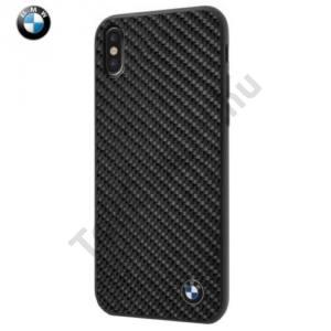 APPLE IPhone X 5,8`` BMW SIGNATURE műanyag telefonvédő (szilikon keret, karbon minta) FEKETE