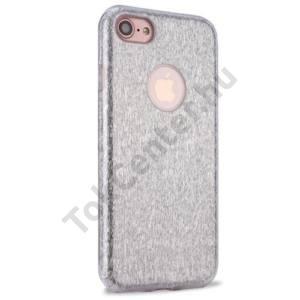 APPLE IPhone 7 4.7`` /APPLE IPhone 8 4,7`` Műanyag telefonvédő (gumi / szilikon belső, csillámporos, logo kivágás) EZÜST