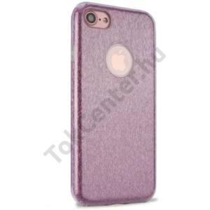 APPLE IPhone 7 4.7`` /APPLE IPhone 8 4,7`` Műanyag telefonvédő (gumi / szilikon belső, csillámporos, logo kivágás) RÓZSASZÍN