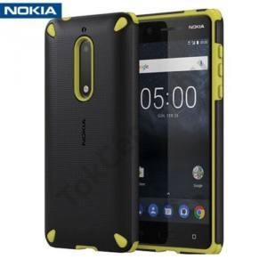 NOKIA 5 Műanyag telefonvédő (gumi / szilikon belső, közepesen ütésálló) FEKETE/CITROMSÁRGA