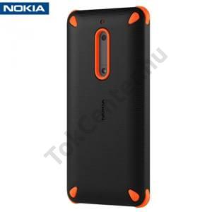 NOKIA 5 Műanyag telefonvédő (gumi / szilikon belső, közepesen ütésálló) FEKETE/NARANCS