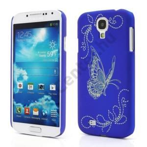 Samsung Galaxy S IV. (GT-I9500) Műanyag telefonvédő (gumírozott, gravírozott, pillangó mintás) KÉK