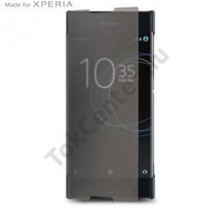 SONY Xperia XA1 Ultra Műanyag telefonvédő (átlátszó flip, oldalra nyíló) FEKETE