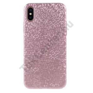 APPLE IPhone X 5,8`` Műanyag telefonvédő (csillogó, mozaik minta) ROZÉARANY