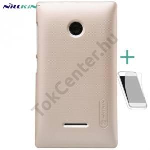 Microsoft Lumia 532 NILLKIN SUPER FROSTED műanyag telefonvédő (gumírozott, érdes felület, képernyővédő fólia, tisztítókendő) ARANY