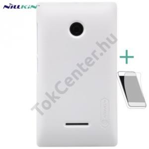 Microsoft Lumia 532 NILLKIN SUPER FROSTED műanyag telefonvédő (gumírozott, érdes felület, képernyővédő fólia, tisztítókendő) FEHÉR