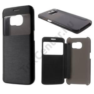 Samsung Galaxy S6 EDGE (SM-G925F) Műanyag telefonvédő (bőr flip, oldalra nyíló, View Window, szálcsiszolt mintázat) FEKETE