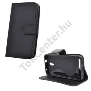 Alcatel Idol 2 (OT-6037) Tok álló, bőr (FLIP, mágneses, oldalra nyíló, bankkártya  tartó, asztali tartó funkció) FEKETE