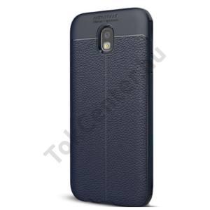 SAMSUNG Galaxy J5 (2017) (SM-J530) Telefonvédő gumi / szilikon (bőrhatás, varrás minta) SÖTÉTKÉK