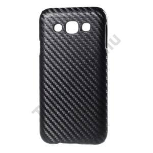 Samsung Galaxy E5 (SM-E500) Műanyag telefonvédő (karbon minta) FEKETE