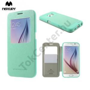 Samsung Galaxy S6 (SM-G920) MERCURY Wow Bumper tok álló, bőr (FLIP, oldalra nyíló, S-View cover, textilminta) CYAN