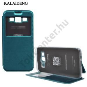 Samsung Galaxy E5 (SM-E500) KALAIDENG SUN tok álló, bőr (FLIP, oldalra nyíló, asztali tartó funkció, View Window) ZÖLD