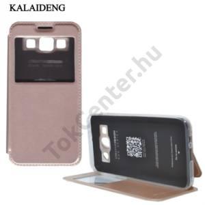 Samsung Galaxy E5 (SM-E500) KALAIDENG SUN tok álló, bőr (FLIP, oldalra nyíló, asztali tartó funkció, View Window) ARANY