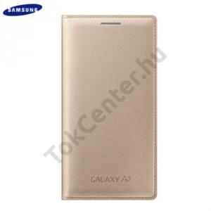 Samsung Galaxy A3 (SM-A300F) Tok álló, bőr (FLIP, akkufedél, oldalra nyíló) ARANY