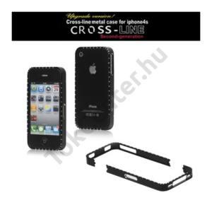 Apple iPhone 4 CROSS-LINE Telefonvédő alumínium keret (strass kövekkel) FEKETE