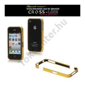 Apple iPhone 4 CROSS-LINE Telefonvédő alumínium keret (strass kövekkel) ARANY