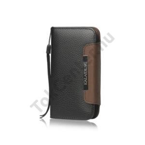 HTC One S (Z520e) KALAIDENG tok álló, bőr Flip, (mágneses, oldalra nyíló, bankkártya tartó, csuklópánt) FEKETE