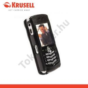 BlackBerry 8100 KRUSELL CABRIOLET álló bőrtok, nyitott, övre fűzhető, övcsipesz, FEKETE