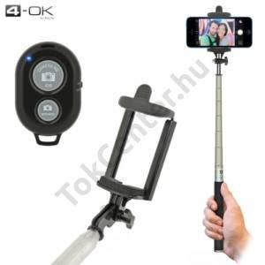 4-OK UNIV állítható selfie bot (BLUETOOTH távkioldó exponáló gomb,távirányító,1m hosszú nyél,290°-ban forgatható) FEKETE