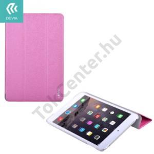 Apple IPAD mini 4 DEVIA műanyag telefonvédő (bőr flip, oldalra nyíló, TRIFOLD asztali tartó funkció) RÓZSASZÍN