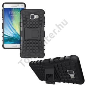 Samsung Galaxy A7 (2016) (SM-A710F) Defender műanyag telefonvédő (gumi / szilikon betét, kitámasztó) FEKETE