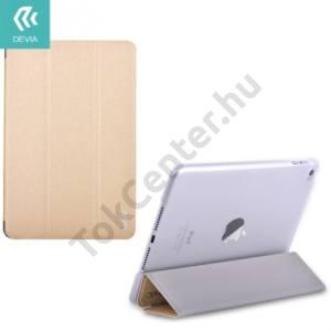 Apple IPAD mini 4 DEVIA műanyag telefonvédő (bőr flip, oldalra nyíló, TRIFOLD asztali tartó funkció) ARANY