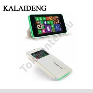 Nokia Lumia 630 KALAIDENG ICELAND II. tok álló, bőr (FLIP, oldalra nyíló, asztali tartó funkció, S-View Cover) FEHÉR