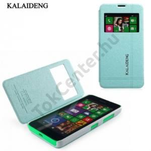 Nokia Lumia 630 KALAIDENG ICELAND II. tok álló, bőr (FLIP, oldalra nyíló, asztali tartó funkció, S-View Cover) KÉK