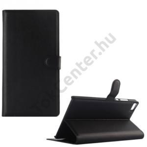 Huawei P8 Max Tok álló, bőr (FLIP, oldalra nyíló, asztali tartó funkció) FEKETE