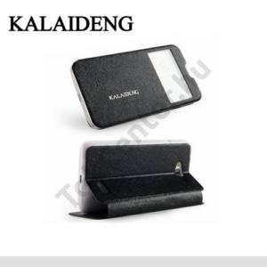 LG L65 (D280) KALAIDENG ICELAND II. tok álló, bőr (FLIP, oldalra nyíló, asztali tartó funkció, QuickWindow) FEKETE