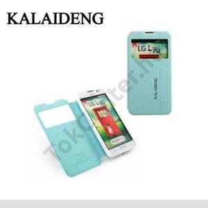 LG L65 (D280) KALAIDENG ICELAND II. tok álló, bőr (FLIP, oldalra nyíló, asztali tartó funkció, QuickWindow) KÉK