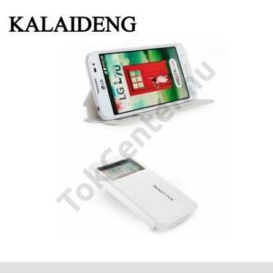 LG L65 (D280) KALAIDENG ICELAND II. tok álló, bőr (FLIP, oldalra nyíló, asztali tartó funkció, QuickWindow) FEHÉR
