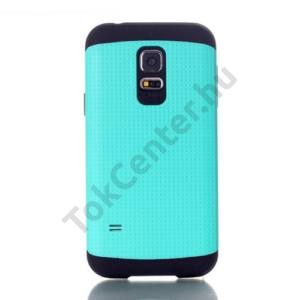 Samsung Galaxy S V. mini (SM-G800) Defender műanyag telefonvédő (közepesen ütésálló, gumi / szilikon belső, lyukacsos minta) CYAN
