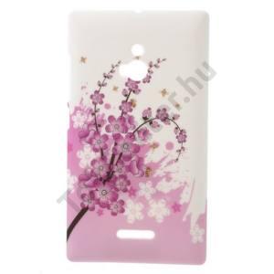 Nokia XL Műanyag telefonvédő (virágmintás) FEHÉR