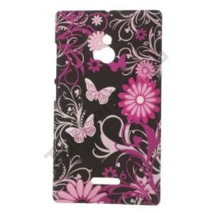 Nokia XL Műanyag telefonvédő (pillangó, virágmintás) FEKETE