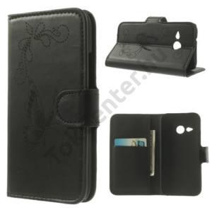 HTC One Mini 2 Tok álló, bőr (FLIP, oldalra nyíló, asztali tartó funkció, bankkártya tartó, gravírozott, pillangó minta) FEKETE