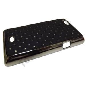 Sony Xperia Miro (ST23i) Műanyag telefonvédő (strasszkő) FEKETE