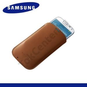 Samsung Galaxy S IV. (GT-I9500) Tok álló, bőr (POUCH) BARNA