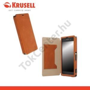 Sony Xperia Z1 (C6903) KRUSELL FlipCover KIRUNA, műanyag telefonvédő (mágneses, oldalra nyíló bőr flip, bankkártyatartóval) BARNA