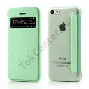 Apple iPhone 5C Műanyag telefonvédő (bőr flip, oldalra nyíló, hívószámkijelzés, és hívás felvételhez kivágás) ZÖLD