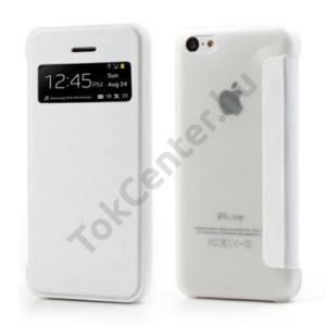 Apple iPhone 5C Műanyag telefonvédő (bőr flip, oldalra nyíló, hívószámkijelzés, és hívás felvételhez kivágás) FEHÉR