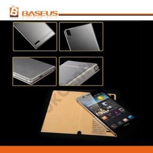 Huawei Ascend P6 (P6-U06) BASEUS tok álló, bőr (FLIP, oldalra nyíló, szálcsiszolt mintázat, NANOPAD szerű készülék rögzítés) EZÜST