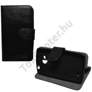 LG L70+ L Fino (D290n) Tok álló, bőr (FLIP, mágneses, oldalra nyíló, bankkártya  tartó, asztali tartó funkció) FEKETE