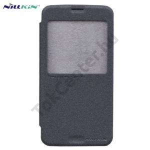 Samsung Galaxy S V. (SM-G900) NILLKIN SPARKLE műanyag telefonvédő (mikroszálas bőr flip, oldalra nyíló, hívószámkijelzés, View Window) FEKETE