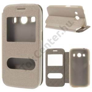 Samsung Galaxy Ace 4 LTE (SM-G357FZ) Tok álló, bőr (FLIP, oldalra nyíló, asztali tartó funkció, hívókijelzés, Dual View Window, érdes felület) ARANY