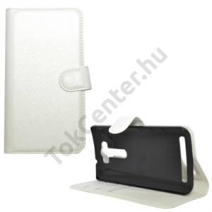 Asus Zenfone 2 Laser 5`` (ZE500KL) Tok álló, bőr (FLIP, oldalra nyíló, asztali tartó funkció) FEHÉR