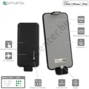 Műanyag telefonvédő (vésztöltő, beépített 3000 mAh LI-Polymer akku, MFi Apple engedélyes) FEKETE