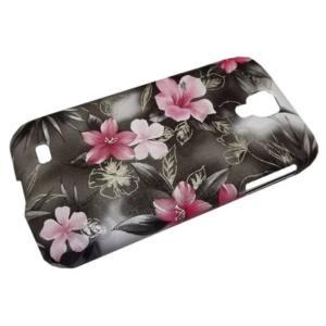 Samsung Galaxy S IV. (GT-I9500) Műanyag telefonvédő (virágmintás) SZÜRKE