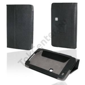 Huawei Ideos S7 Slim Tok álló, bőr (FLIP, REJTETT mágneses, asztali tartó funkció) FEKETE